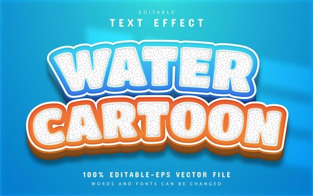 Efeito de texto de desenho animado de água editável