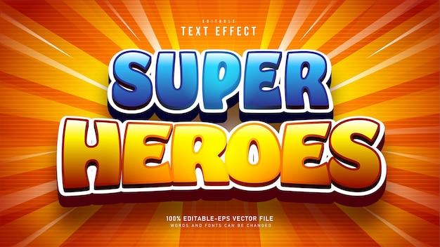 Efeito de texto de desenho animado de super-heróis