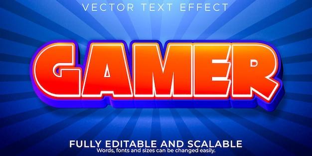 Efeito de texto de desenho animado do jogador, crianças editáveis e estilo de texto escolar