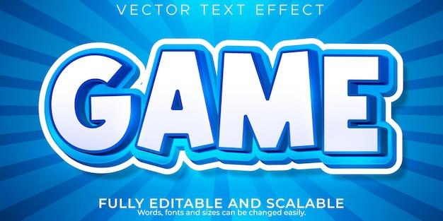 Efeito de texto de desenho animado do jogo, crianças editáveis e estilo de texto escolar