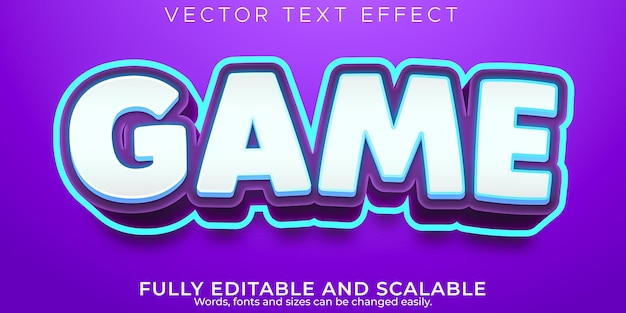 Efeito de texto de desenho animado do jogo, estilo de texto engraçado e cômico editável
