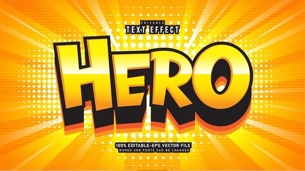Efeito de texto de desenho animado herói