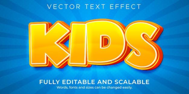 Efeito de texto de desenho animado infantil, quadrinhos editáveis e estilo de texto divertido