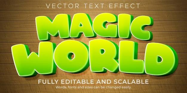Efeito de texto de desenho animado mágico, estilo de texto engraçado e cômico editável