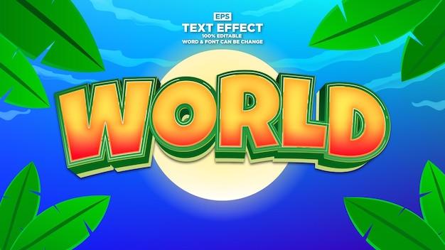 Efeito de texto de desenho animado moderno com fundo tropical