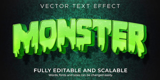 Efeito de texto de desenho animado monstro; estilo de texto editável em quadrinhos e engraçado