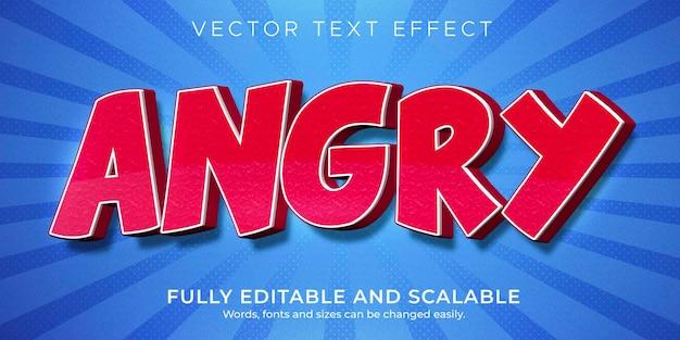 Efeito de texto de desenho animado vermelho zangado, estilo de texto engraçado e cômico editável