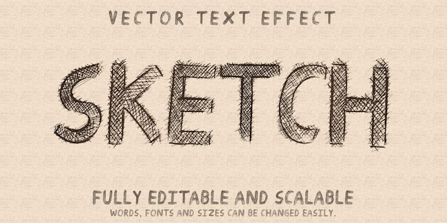 Efeito de texto de desenho de esboço, rabisco editável e estilo de texto rabiscado