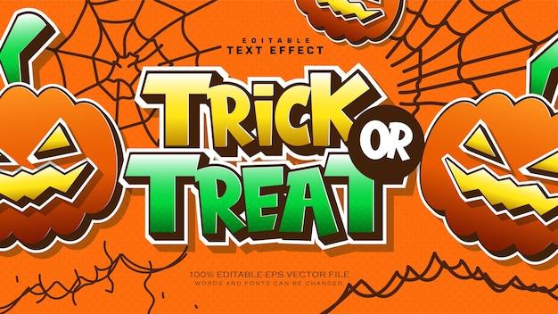 Efeito de texto de doces ou travessuras de halloween