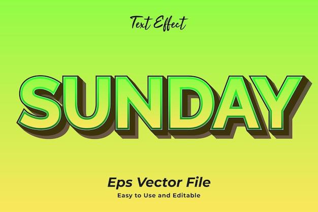 Efeito de texto de domingo editável e fácil de usar vetor premium
