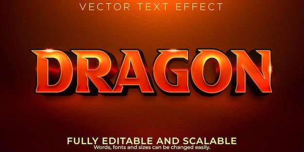 Efeito de texto de dragão, estilo de texto engraçado e cômico editável