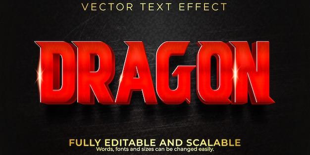 Efeito de texto de dragão, samurai editável e estilo de texto de lutador