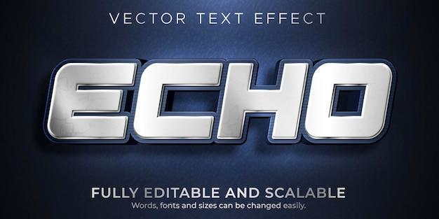Efeito de texto de eco metálico, estilo de texto editável brilhante e elegante