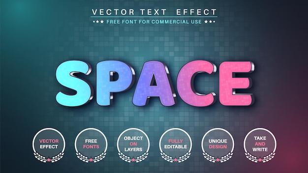 Efeito de texto de edição de espaço 3d