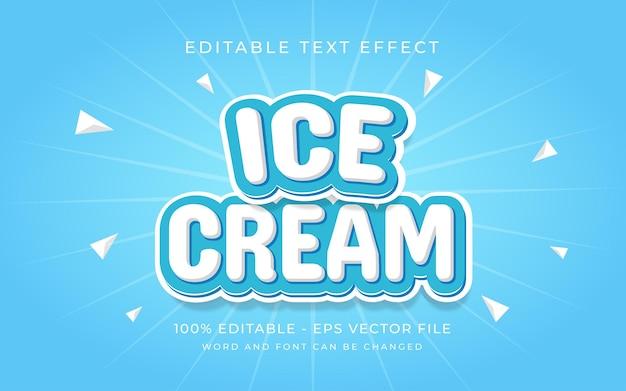 Efeito de texto de efeito de texto de sorvete, efeito de texto editável