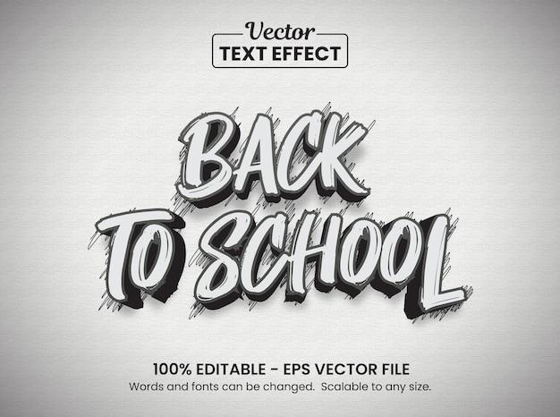 Efeito de texto de esboço de volta às aulas, efeito de texto editável