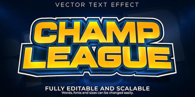 Efeito de texto de esporte campeão, estilo de texto editável de basquete e futebol