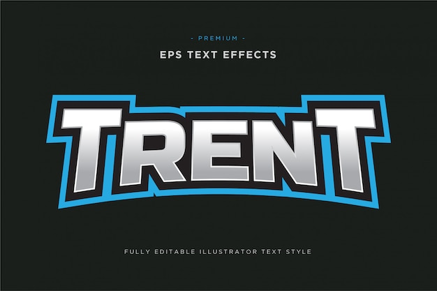 Efeito de texto de esportes mascote trent - esportes editáveis estilo de texto de vetor
