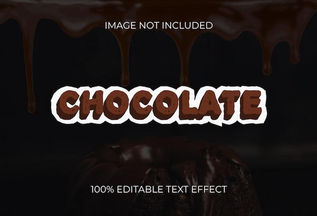 Efeito de texto de estilo 3d de chocolate