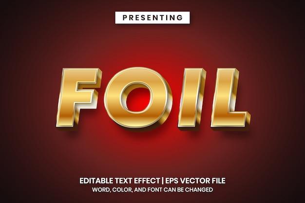 Efeito de texto de estilo 3d de folha de ouro
