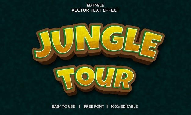 Efeito de texto de estilo 3d de passeio na selva com vetor premium