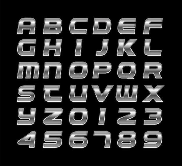 Efeito de texto de estilo 3d prata brilhante vector grátis