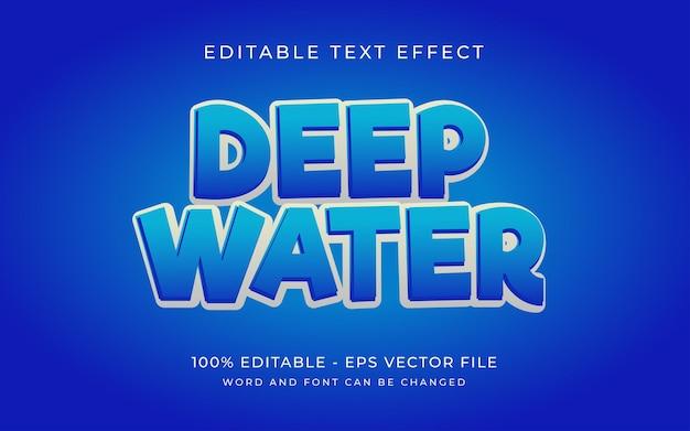 Efeito de texto de estilo de água azul profundo efeito de texto editável de estilo