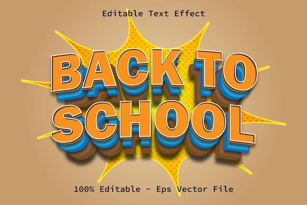 Efeito de texto de estilo de desenho animado de volta às aulas