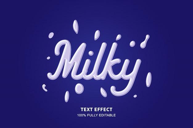 Efeito de texto de estilo de leite fresco