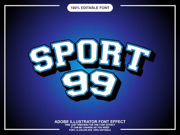 Efeito de texto de estilo gráfico editável de esporte