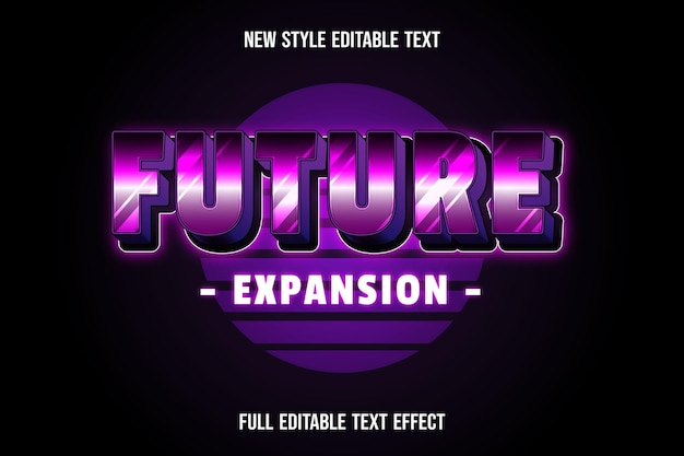 Efeito de texto de expansão futura cor rosa e preto
