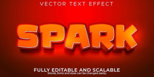 Efeito de texto de faísca, estilo de texto editável de fogo e chama