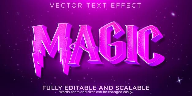 Efeito de texto de fantasia mágica, fada editável e estilo de texto místico