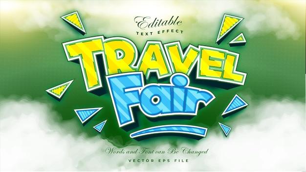Efeito de texto de feira de viagens