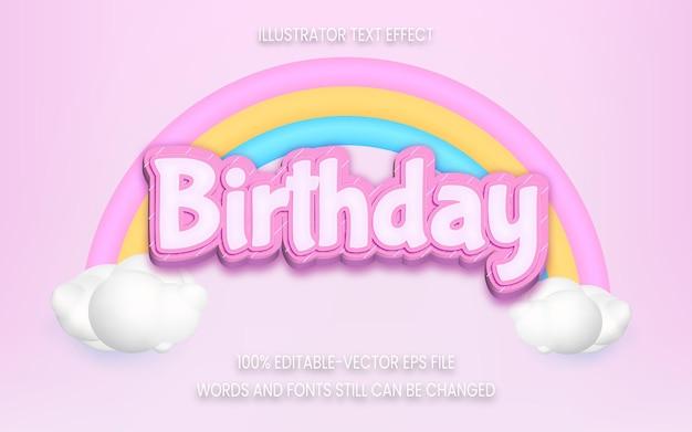 Efeito de texto de feliz aniversário com arco-íris