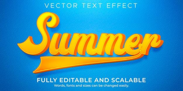 Efeito de texto de férias de verão, viagens editáveis e estilo de texto de praia
