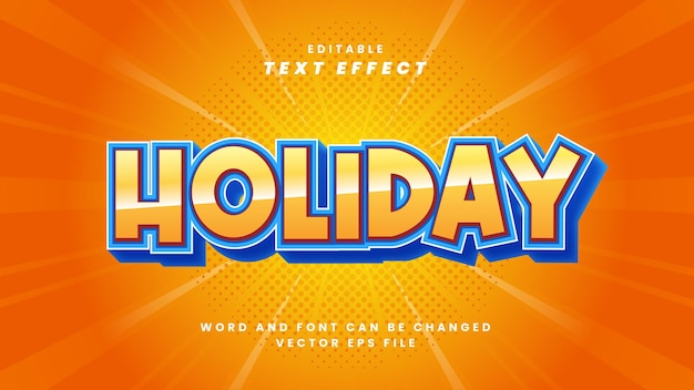 Efeito de texto de férias