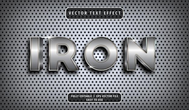 Efeito de texto de ferro 3d, estilo de texto editável