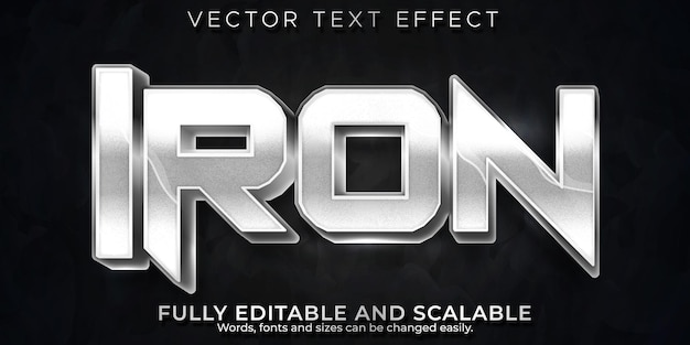 Efeito de texto de ferro, estilo de texto editável metálico e brilhante