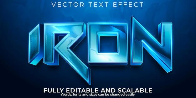 Efeito de texto de ferro, estilo de texto editável metálico e espacial