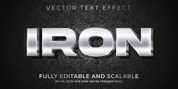 Efeito de texto de ferro metálico, estilo de texto editável brilhante e elegante
