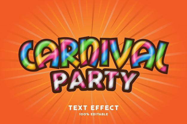 Efeito de texto de festa de carnaval