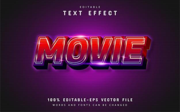 Efeito de texto de filme com gradiente vermelho