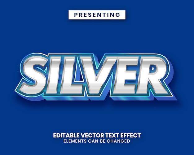 Efeito de texto de filme editável azul prata metal brilhante