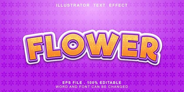 Efeito de texto de flor editável