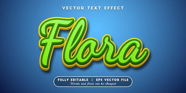 Efeito de texto de flora, estilo de texto editável