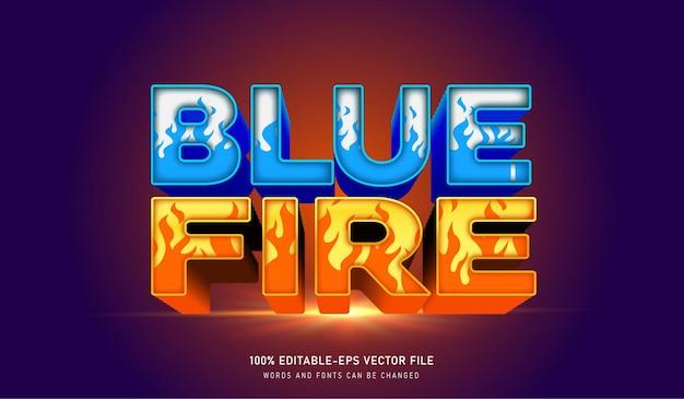 Efeito de texto de fogo azul e fonte editável