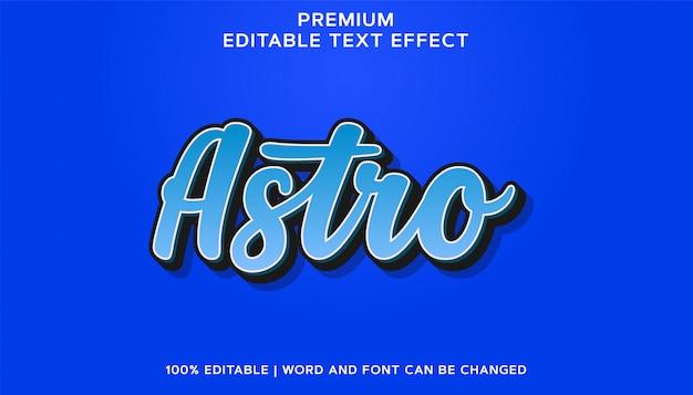 Efeito de texto de fonte editável azul astro premium