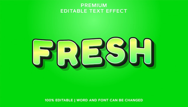 Efeito de texto de fonte editável premium fresca