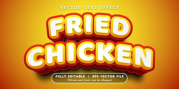 Efeito de texto de frango frito com estilo de texto editável
